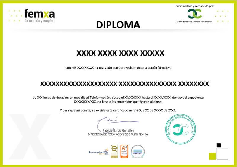 Diploma de Aprovechamiento Grupo Femxa y avalado CEC