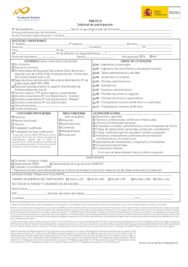Anexo de solicitud de participación
