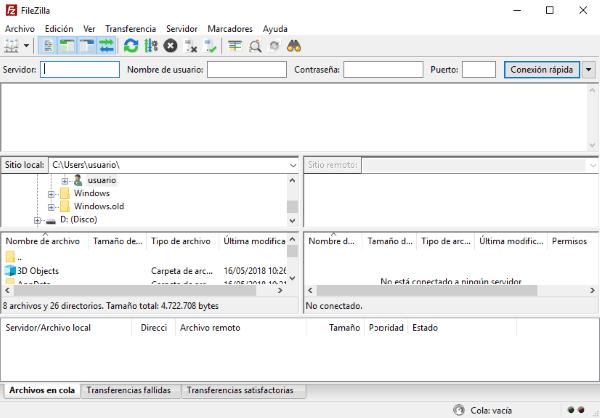 pantalla inicial de Filezilla
