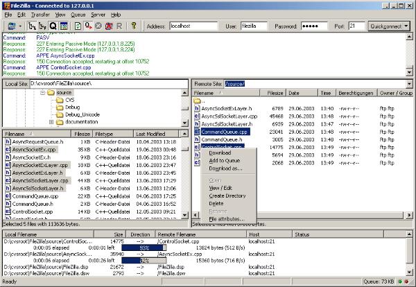 pantalla de transferencia de archivos en filezilla