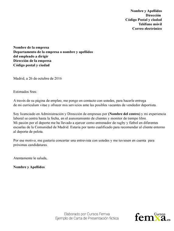 carta de presentación