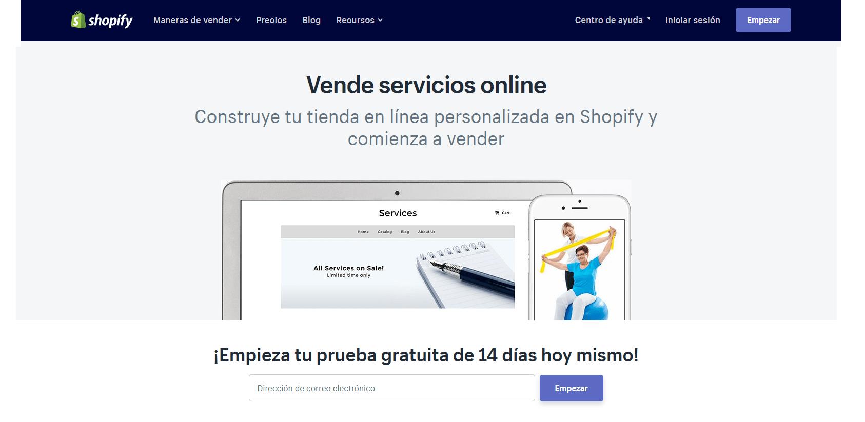 Plataforma shopify para crear una tienda virtual