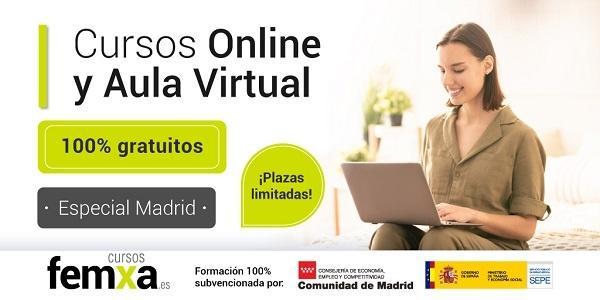 cartel de cursos gratis para Madrid con chica haciendo un curso online en el portatil