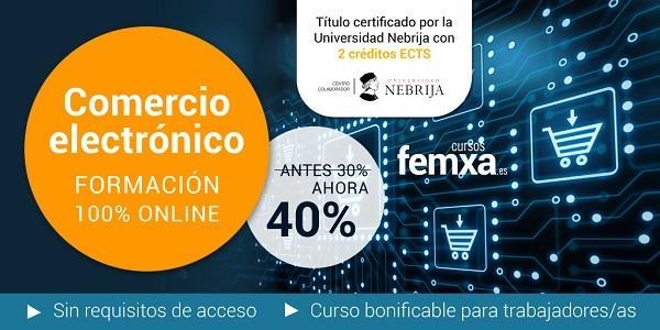 cartel sobre curso de comercio electronico para vender online