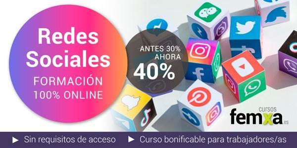 cubos con logotipos de redes sociales en un cartel que anuncia un curso privado