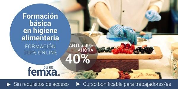 cartel de curso online privado sobre higiene alimentaria en la que se ve un cocinero trabajando con alimentos en una tabla