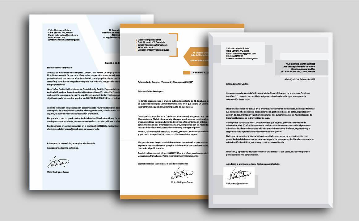 Cartas presentacion CV